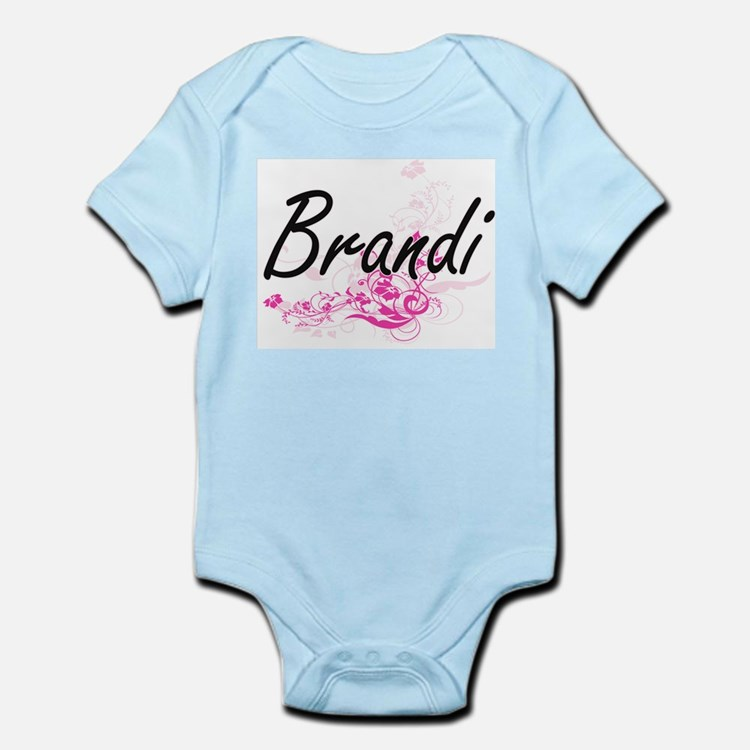 Brandi Artistic Name Design with Flowers Body Suit