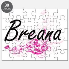 Breana Artistic Name Design with Flowers Puzzle
