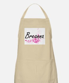 Breanna Artistic Name Design with Flowers Apron
