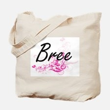 Bree Artistic Name Design with Flowers Tote Bag