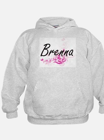 Brenna Artistic Name Design with Flowe Hoodie