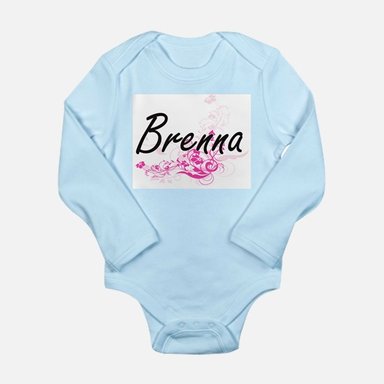 Brenna Artistic Name Design with Flowers Body Suit