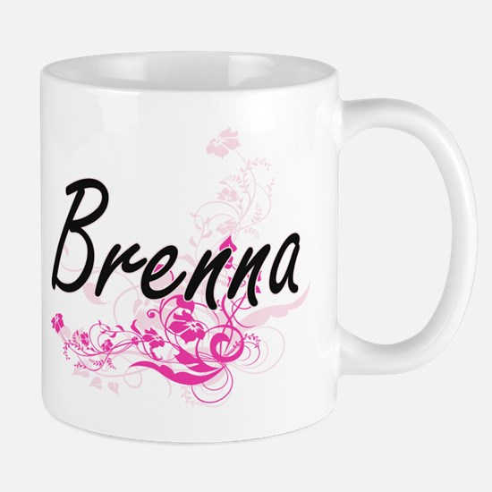 Brenna Artistic Name Design with Flowers Mugs