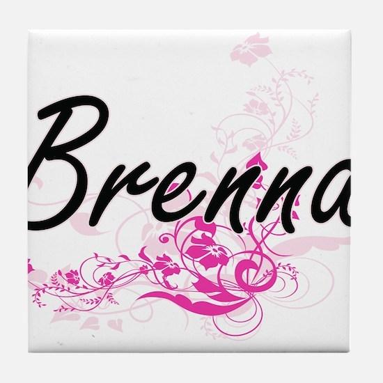 Brenna Artistic Name Design with Flow Tile Coaster