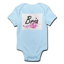 Bria Artistic Name Design with Flowers Body Suit