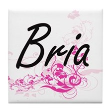 Bria Artistic Name Design with Flower Tile Coaster