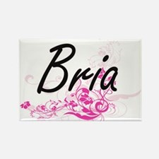 Bria Artistic Name Design with Flowers Magnets