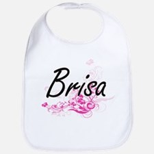 Brisa Artistic Name Design with Flowers Bib
