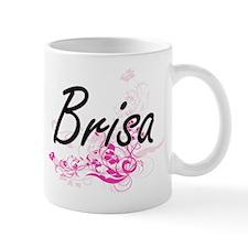 Brisa Artistic Name Design with Flowers Mugs