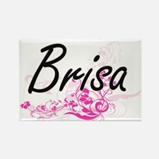 Brisa Artistic Name Design with Flowers Magnets