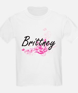Brittney Artistic Name Design with Flowers T-Shirt