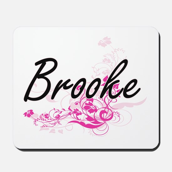 Brooke Artistic Name Design with Flowers Mousepad