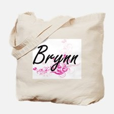 Brynn Artistic Name Design with Flowers Tote Bag