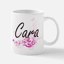 Cara Artistic Name Design with Flowers Mugs
