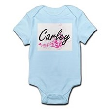 Carley Artistic Name Design with Flowers Body Suit