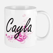 Cayla Artistic Name Design with Flowers Mugs