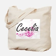 Cecelia Artistic Name Design with Flowers Tote Bag