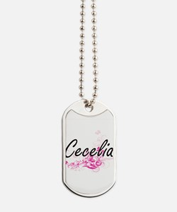 Cecelia Artistic Name Design with Flowers Dog Tags