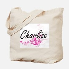Charlize Artistic Name Design with Flower Tote Bag