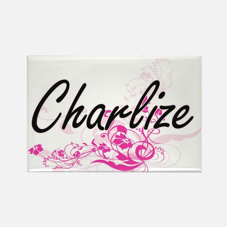 Charlize Artistic Name Design with Flowers Magnets
