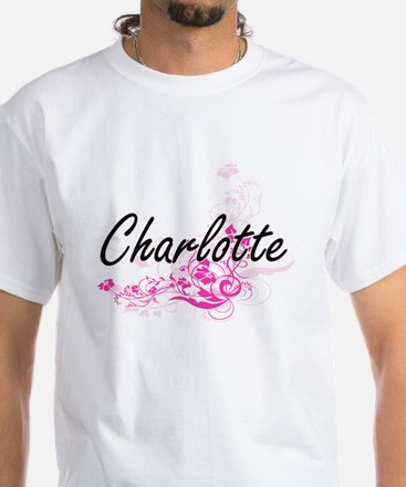 Charlotte Artistic Name Design with Flower T-Shirt