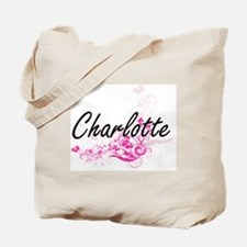 Charlotte Artistic Name Design with Flowe Tote Bag