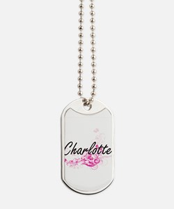 Charlotte Artistic Name Design with Flowe Dog Tags