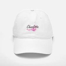 Charlotte Artistic Name Design with Flowers Baseball Baseball Cap