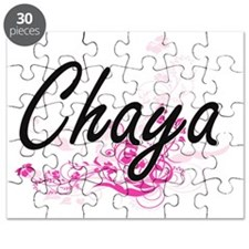 Chaya Artistic Name Design with Flowers Puzzle