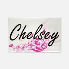 Chelsey Artistic Name Design with Flowers Magnets