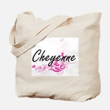 Cheyenne Artistic Name Design with Flower Tote Bag