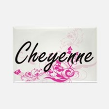 Cheyenne Artistic Name Design with Flowers Magnets