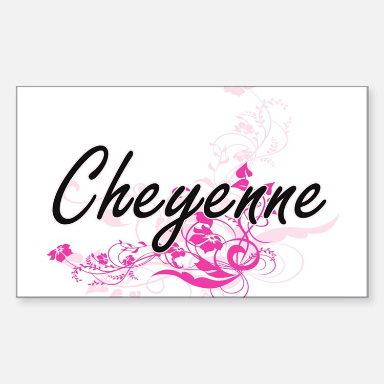 Cheyenne Artistic Name Design with Flowers Decal