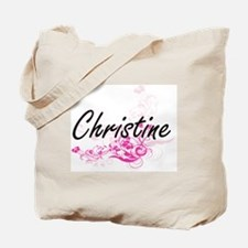 Christine Artistic Name Design with Flowe Tote Bag