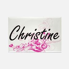 Christine Artistic Name Design with Flower Magnets