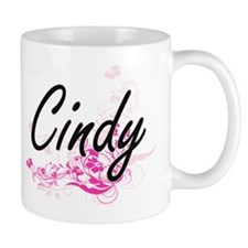 Cindy Artistic Name Design with Flowers Mugs