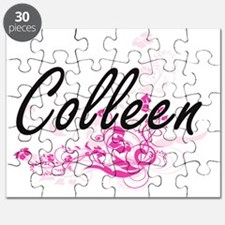 Colleen Artistic Name Design with Flowers Puzzle