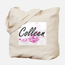 Colleen Artistic Name Design with Flowers Tote Bag