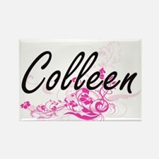 Colleen Artistic Name Design with Flowers Magnets