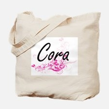 Cora Artistic Name Design with Flowers Tote Bag
