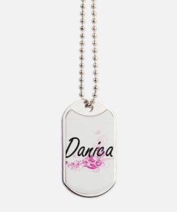 Danica Artistic Name Design with Flowers Dog Tags