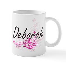 Deborah Artistic Name Design with Flowe Mugs