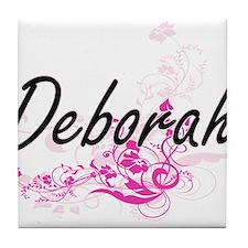 Deborah Artistic Name Design with Flo Tile Coaster