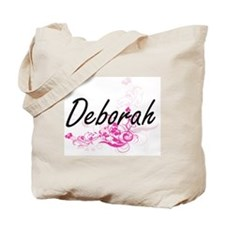 Deborah Artistic Name Design with Flowers Tote Bag