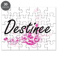 Destinee Artistic Name Design with Flowers Puzzle