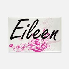 Eileen Artistic Name Design with Flowers Magnets