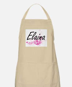 Elaina Artistic Name Design with Flowers Apron