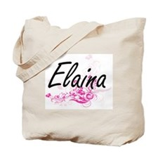 Elaina Artistic Name Design with Flowers Tote Bag