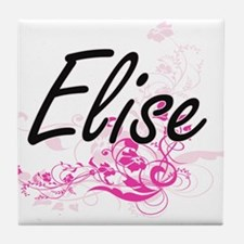 Elise Artistic Name Design with Flowe Tile Coaster
