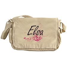 Elsa Artistic Name Design with Flowe Messenger Bag